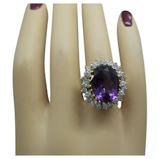 Estate Solid 14kt Large Natural Fine Amethyst (9-1/2 Carats) Cocktail Ring with 24 Fine Diamonds (1.20 Carats total)...Gorgeous