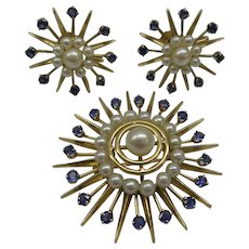 Super 1940's 14kt 3 piece Natrural Sapphires and Pearls Spray Pin with matching Earrings