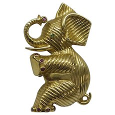 Estate Lovely Detailed Solid 14kt Elephant Pin with Gemstones