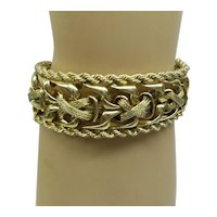 1950's Wide and Heavy Solid 14kt elaborate hand made flexible bracelet....47.1 grams ..Very Nice