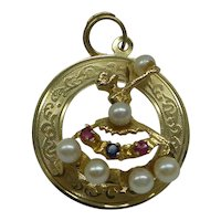 1950's 14kt Dancing Ballerina Charm with Ruby, Sapphire, and Pearls