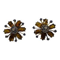 Stunning 1940's Large Natural Marquis Golden Madeira Citrine Earrings with Natural Sapphires and Diamonds......Stunning