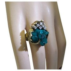 1960's Custom Made Solid 14kt  Chatham Crystal Emerald Cluster Ring with Fine Natural Diamonds...heavy 15.9 Grams