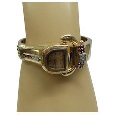 Super Original 1940's Retro 14kt Solid Pink Gold Watch Bangle ( Lucien Picard)  with Natural Rubies and Diamonds