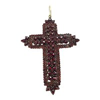"Magnificent Very Large  ( 3"" x 2-1/4"" )  Natural Bohemian Garnet Cross... 150 Years Old.  Very Rare"