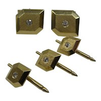 1950's Gents Solid 14kt Cufflinks with 4 Studs Set with Natural Diamonds..Very Tailored