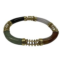 Wonderful Solid 14kt Estate Natural Multi-Color Jade Flexible Bracelet