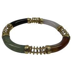 Wonderful Solid 14kt Estate Natural Multi-Color Jade Flexible Bracelet