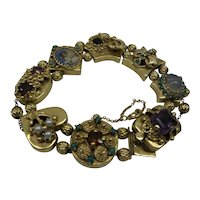 1950's Heavy Large Solid 14kt 8 section Slide Bracelet with Natural Gem Stones.....47 grams