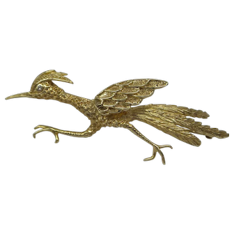 Unique 1960's  Solid 14kt Large Detailed 3 Dimensional Road Runner Pin...20.4 Grams