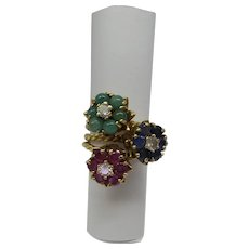 Unique 1960's 14k Raised Triple Tulip Ring with Natural Emeralds,  Rubies, Sapphires and Diamonds