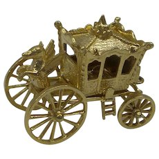 """Wonderful 3D Solid 14kt Moveable Wheels and Opening Carriage """" Cinderella Coach Charm"""""""