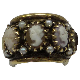 1960's Very Wide Solid 14kt all around Cameo and pearl Band.