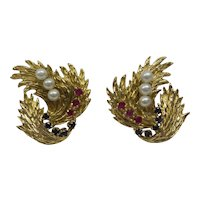 Very Large 1950's Solid 14kt Fowing Leaf Motif Earrings with Natural Sapphires, Rubies, and Pearls......20.5 Grams