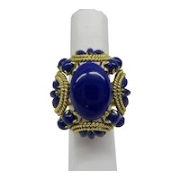Fantastic Large Solid 14kt multi Lapis raised Dome Estate Ring c. 1960's....12.9 Grams