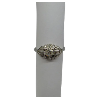 Original 1920's Art Deco Platinum and Diamond Ring    .75 cts.  Oval Natural GH..SI  Quality  Diamond Center