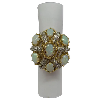 Large Wonderful Estate 1960's Solid 14kt  Multi- Opal with Natural Diamonds Ring.....12Grams