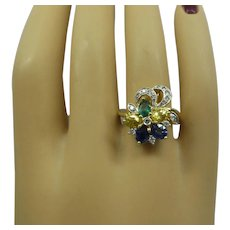 Outstanding Solid 18kt Estate Ring with Very Fine Natural Gemstones and Diamonds..Super Quality