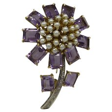 Fabulous Large 1940's Substantial Solid 18kt  Natural Amethyst ( 11 Stones 12 carat total) ) with Diamonds and Pearls Pin...16.1 Grams