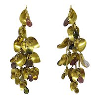 Large One of a Kind Ultimate Dangle Tassel Earrings in Solid 18kt Gold with Multi-Color Natural Faceted Tourmaline Briolettes.  Truly Unique
