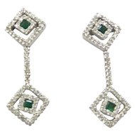 Very Nice Solid 18kt White Gold Natural Diamonds and Emeralds Earrings.....Estate