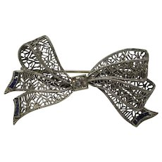 Original Edwardian Circa 1900 Solid 14kt Filigree Bow Pin with Natural Diamond and French Cut Sapphires...Very Fine