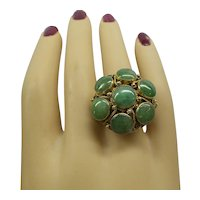 Large Heavy Fantastic Solid 14kt 1950's circular design Natural 9 piece apple color Jade Ring. 12.9 Grams