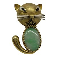 Awesum Large Solid and Thick 18kt Italy 1950s Natural Jade Jadeite Cat Pin...14.9 Grams.