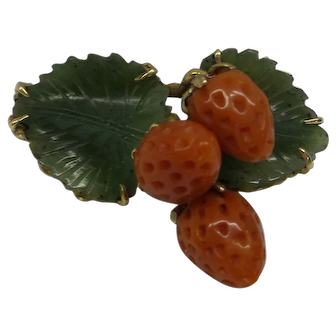 Fine 1940's Solid 14kt Natural Carved Jade Leaves and Natural Strawberry Coral Pin...Unique