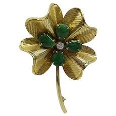 Original 1940's Retro Solid 14t Fine Natural Jade ( Jadeite) and Diamond Clover Pin