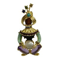 "Wonderful 1950's Solid 14kt Semi Precious Stones Figural  ""Genie""  Pin.    Absolutely Fantastic !"