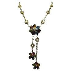 Fine Estate Solid 18kt multi-color stone Diamond w Tassel Necklace.....34.1 Grams