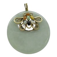 Large Circular Translucent Natural Light Lavender Gray Jade Pendant with 14kt Multi-Color Jade butterfly portion