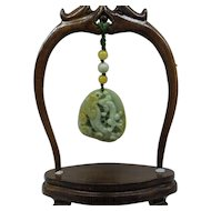 Super Quality Natural Large Green Jade  Carving Displayed in Carved Rosewood Stand