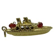 Vintage Estate 1950's Solid 14kt Cruise Ship Charm with gemstones... Bon Voyage..Very Nice Quality..6.1 Grams