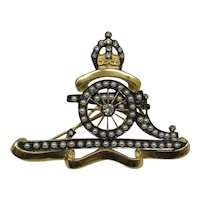 Unique Antique British 9 Carat Solid Gold Field Artillery Cannon and Crown Pin with natural Diamonds and Seed Pearls