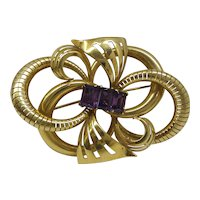 Gorgeous Large Solid 18kt. Original Retro 1940s Swirl Pin with 3 Natural 1 Carat Emerald Cut Amethysts