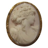 Lovely Solid 10k Gold Engraved Frame Victorian (circa 1890) Natural High Relief Angel Skin Coral Cameo Pin / Pendant...Nice