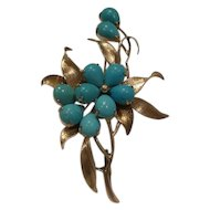 Fabulous Original 1950's Solid 14kt. Genuine Pear Shape Turquoise Floral Motif Pin/Broach...Very Nice