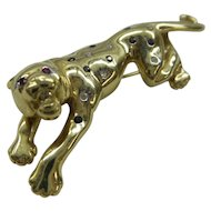 Very nice unique Solid 14k Gold Multi Natural Gem stone Panther Pin C. 1960's