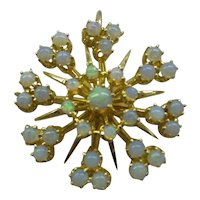 1950's Estate Lovely Large 14k Solid Gold Heavy Opal Starburst Cluster Pin/Pendant 1 Ct. Total