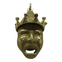 Original 1940's Solid 14k Gold Double Sided Comedy Tragedy Charm or Pendant..Beautiful Detail...Heavy  9.3 Grams