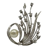 Very Fine Quality Solid 18kt White Gold Original 1950s Diamond and Cultured Pearl Spray Pin