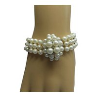 1950's lovely Estate Multi-Strand Cultured pearl 14kt Clasp Bracelet...Wonderful
