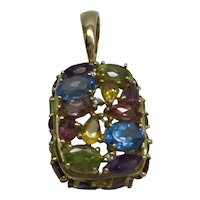 Estate Solid 14kt Multi-Color Semi Precious Pendant.....Colorful Wonderful Mounting