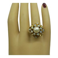 Estate 1950's Solid 14kt Basket Motif Ring with Opals and Cultured Pearl