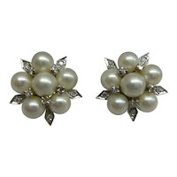 Original 1950's Solid 14kt White Gold Natural Diamonds and Cultured Pearls Cluster Earrings....Very Nice