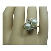 Great 1960's Estate Solid 14kt Cultured Pearls and Natural Diamonds Cocktail Ring.
