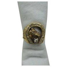 Estate Solid 14kt. Gents Natural Diamond Horseshoe Ring... 10.7 Grams...Nice