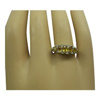 Wonderful Victorian Style Solid 14kt Yellow Gold Natural multi Yellow Sapphire and Diamond Graduated Band
